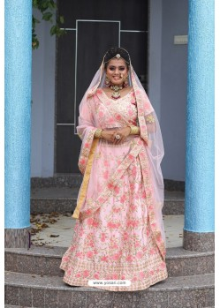 Baby Pink Heavy Embroidered Designer Party Wear Lehenga Choli