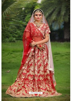 Red Heavy Embroidered Designer Party Wear Lehenga Choli