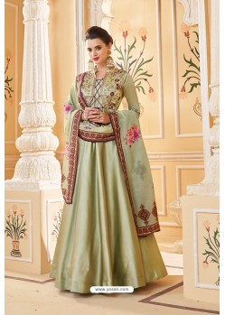 Olive Green Heavy Embroidered Soft Silk Designer Gown Style Anarkali Suit