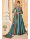 Teal Blue Heavy Embroidered Soft Silk Designer Gown Style Anarkali Suit