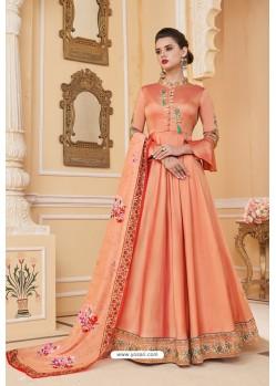 Light Orange Heavy Embroidered Soft Silk Designer Gown Style Anarkali Suit