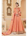 Light Orange Heavy Embroidered Soft Silk Designer Gown Style Anarkali Suit