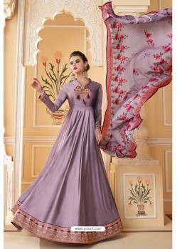 Lavender Heavy Embroidered Soft Silk Designer Gown Style Anarkali Suit