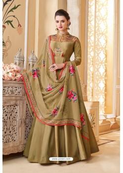 Marigold Heavy Embroidered Soft Silk Designer Gown Style Anarkali Suit
