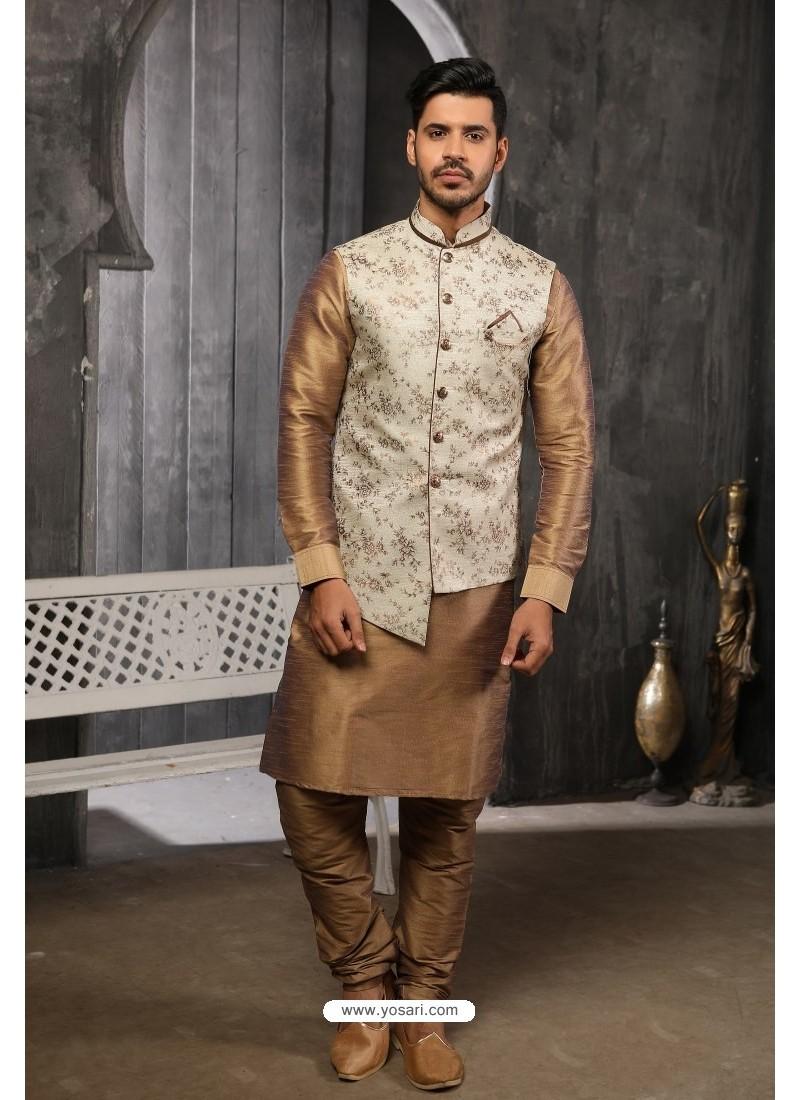 Off White Readymade Jacket With Kurta Pajama For Men