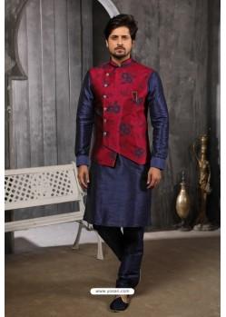 Maroon Readymade Jacket With Kurta Pajama For Men