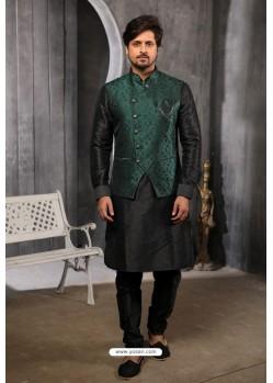 Teal Readymade Jacket With Kurta Pajama For Men