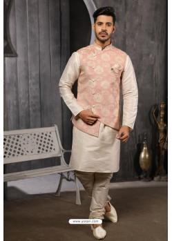 Baby Pink Readymade Jacket With Kurta Pajama For Men