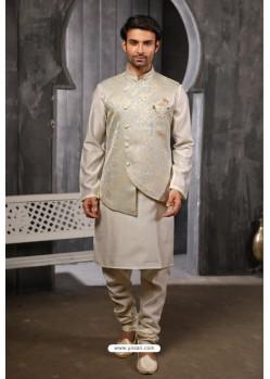 Light Grey Readymade Jacket With Kurta Pajama For Men