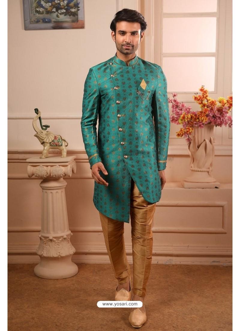 Teal Readymade Semi Indowestern Pajama For Men