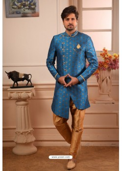 Dark Blue Readymade Semi Indowestern Pajama For Men