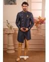 Navy Blue Readymade Semi Indowestern Pajama For Men