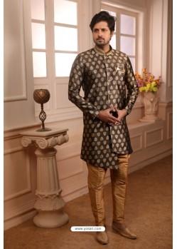 Brown Readymade Semi Indowestern Pajama For Men