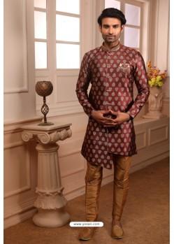 Rose Red Readymade Semi Indowestern Pajama For Men