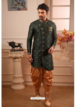 Dark Green Readymade Semi Indowestern Pajama For Men
