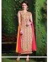 Praiseworthy Lace Work Cream Cotton Designer Salwar Suit
