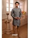 Grey Readymade Semi Indowestern Pajama For Men