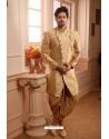 Cream Readymade Semi Indowestern Pajama For Men