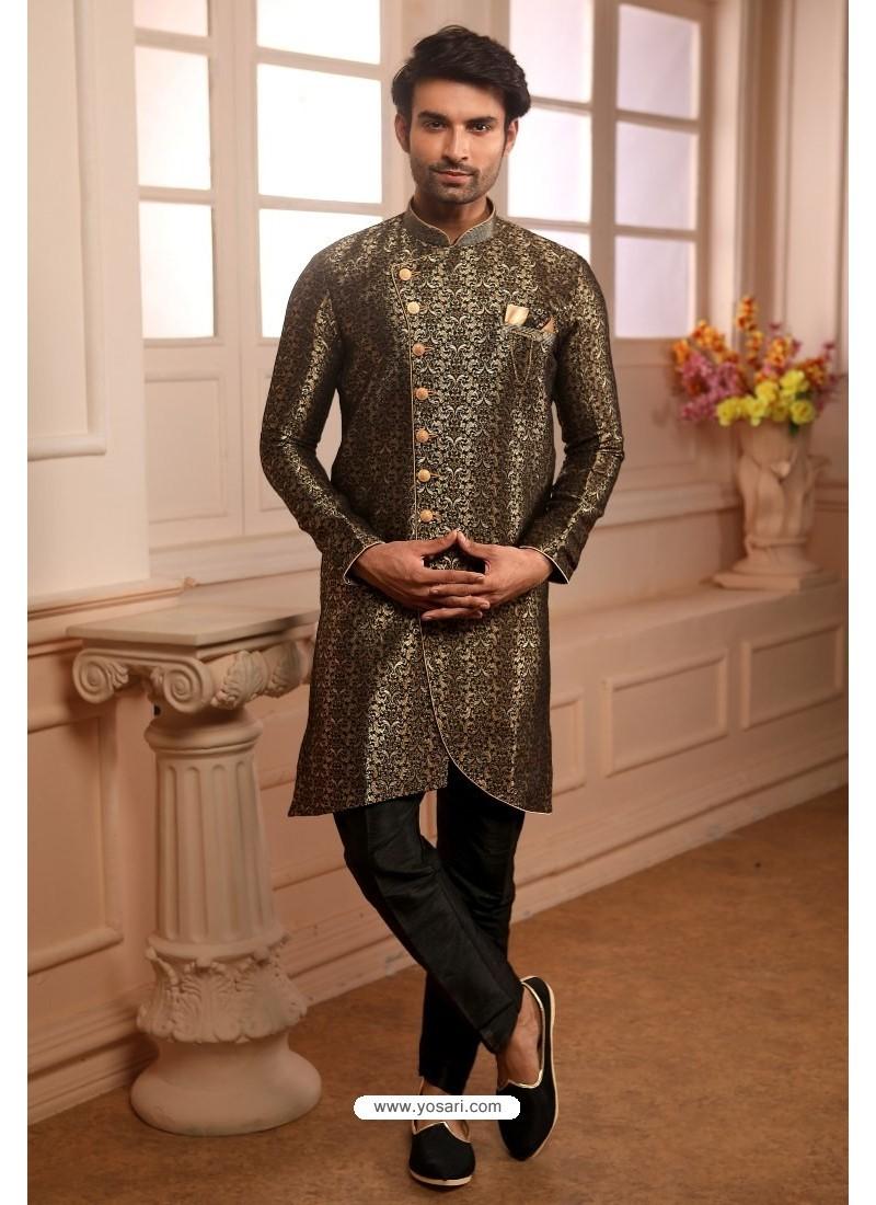 Mehendi Readymade Semi Indowestern Pajama For Men