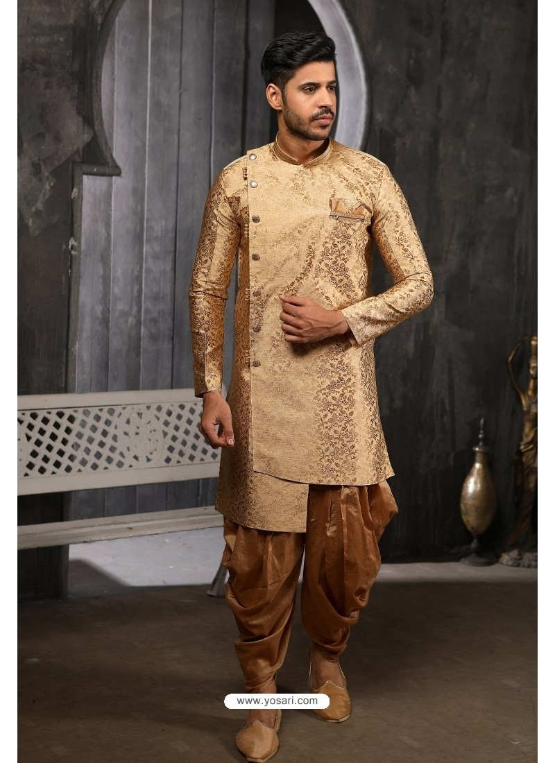 Gold Readymade Semi Indowestern Pajama For Men