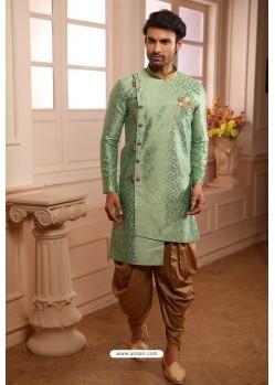Sea Green Readymade Semi Indowestern Pajama For Men