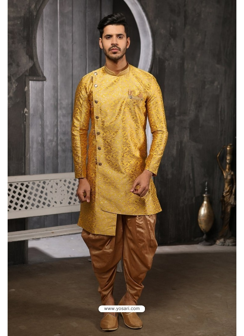 Yellow Readymade Semi Indowestern Pajama For Men