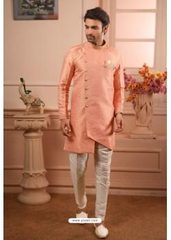 Light Orange Readymade Semi Indowestern Pajama For Men