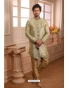 Green Readymade Semi Indowestern Pajama For Men