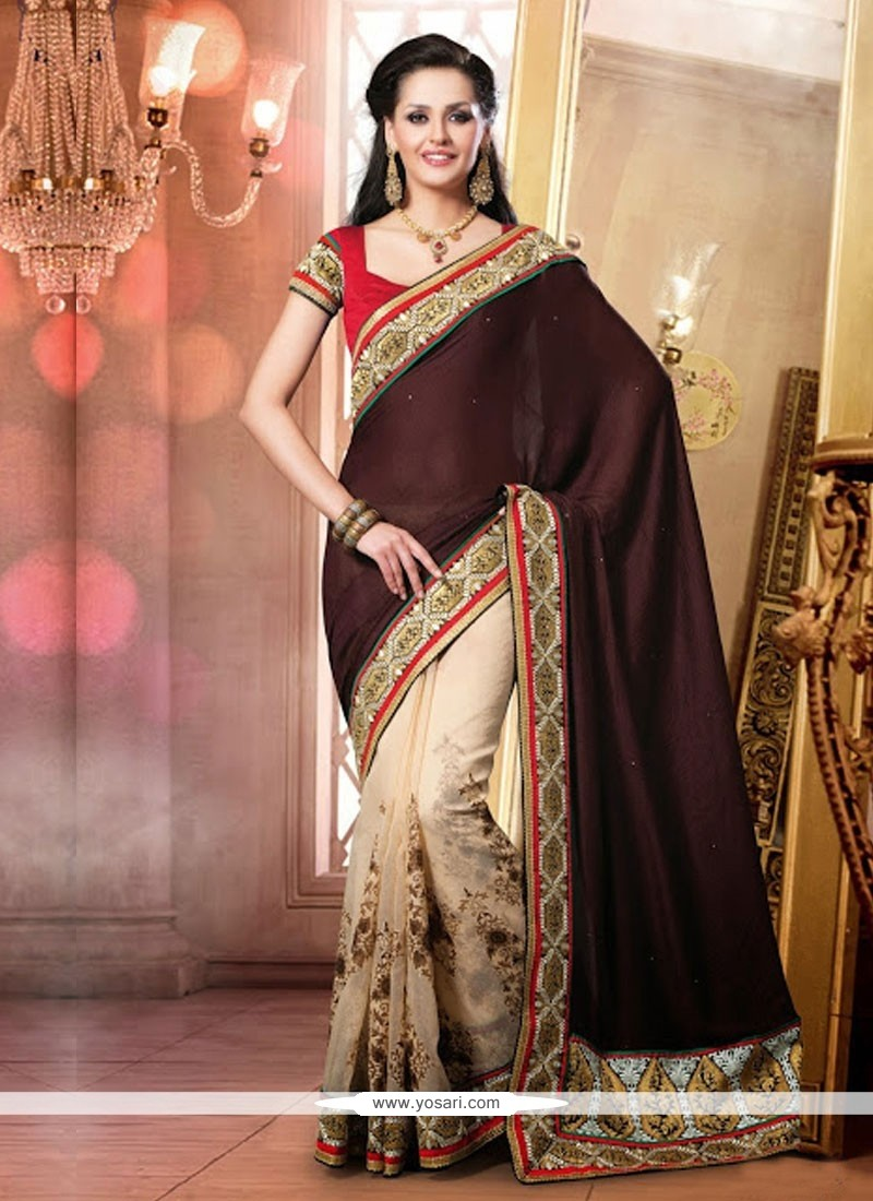 Wine And Cream Cotton Embroidery Designer Saree