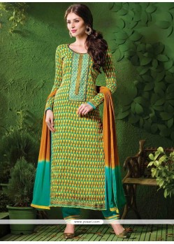 Arresting Cotton Green And Yellow Designer Salwar Kameez