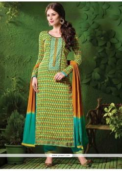 Arresting Cotton Green And Yellow Designer Salwar Kameez