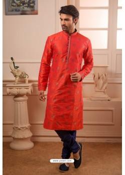 Dark Peach Readymade Semi Indowestern Pajama For Men
