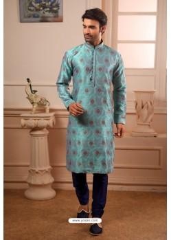 Turquoise Readymade Semi Indowestern Pajama For Men