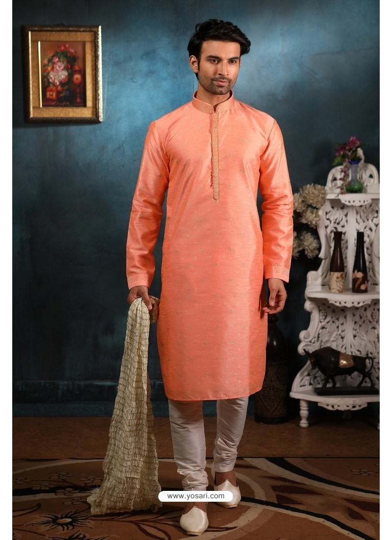 Peach Readymade Semi Indowestern Pajama For Men