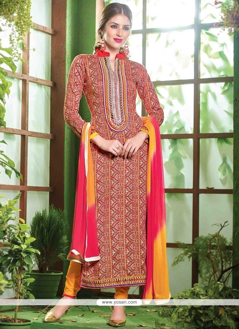 Vivacious Embroidered Work Cotton Red Salwar Suit