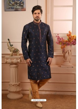 Navy Blue Readymade Semi Indowestern Pajama For Men