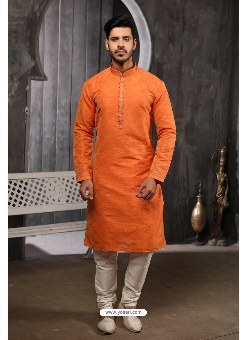 Orange Readymade Semi Indowestern Pajama For Men