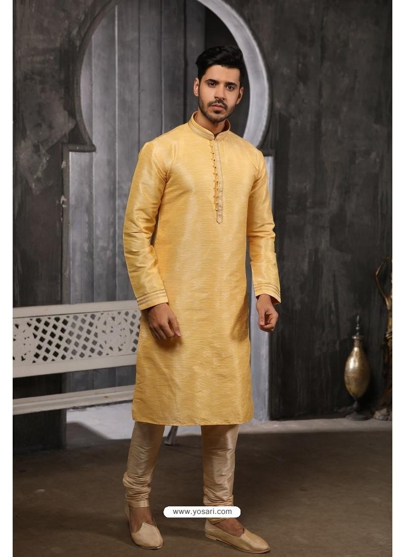 Khaki Readymade Semi Indowestern Pajama For Men