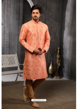 Light Red Readymade Semi Indowestern Pajama For Men