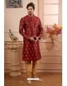 Maroon Readymade Semi Indowestern Pajama For Men
