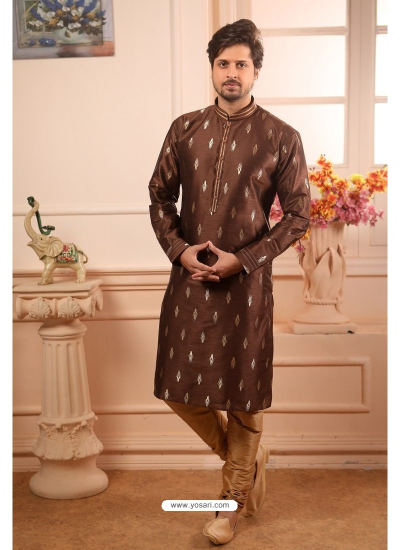 Coffee Readymade Semi Indowestern Pajama For Men