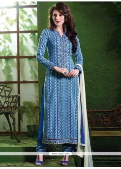 Mystic Lace Work Blue Salwar Suit