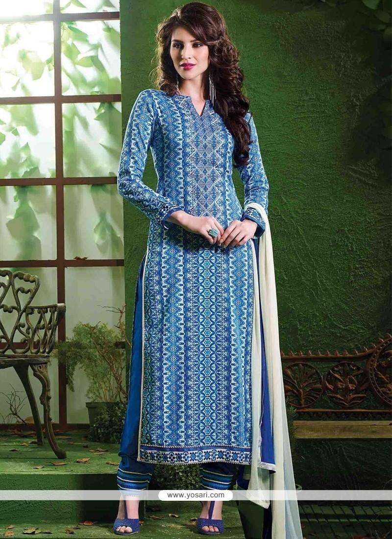 Mystic Lace Work Blue Salwar Suit