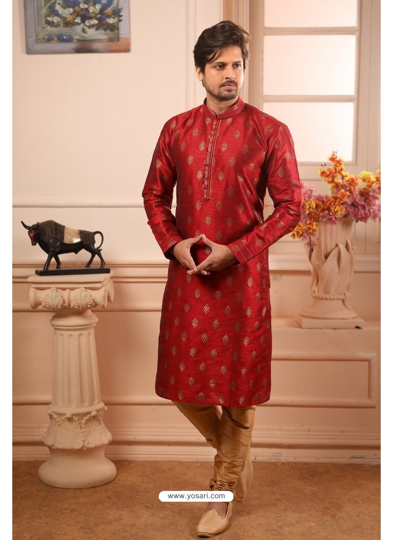 Red Readymade Designer Pajama For Men
