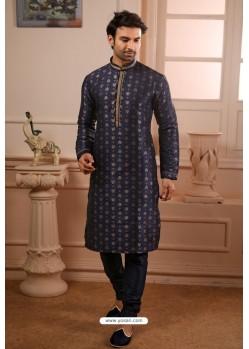 Navy Blue Readymade Designer Pajama For Men