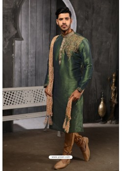 Dark Green Readymade Designer Pajama For Men