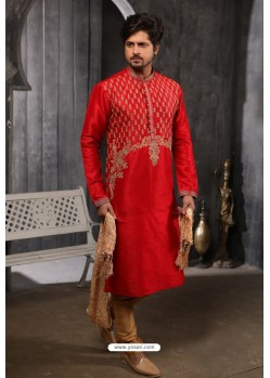 Red Readymade Designer Pajama For Men