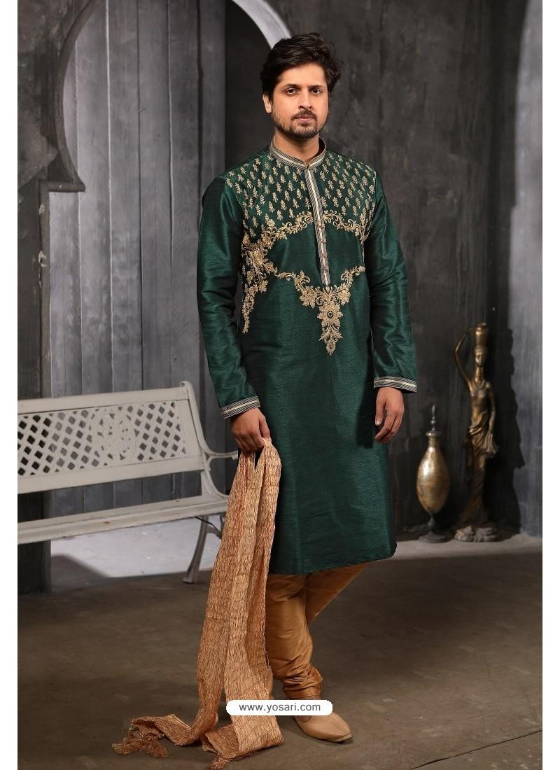 Dark Green Readymade Designer Pajama For Men
