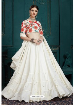 White Heavy Multi Embroidered Designer Designer Lehenga Choli