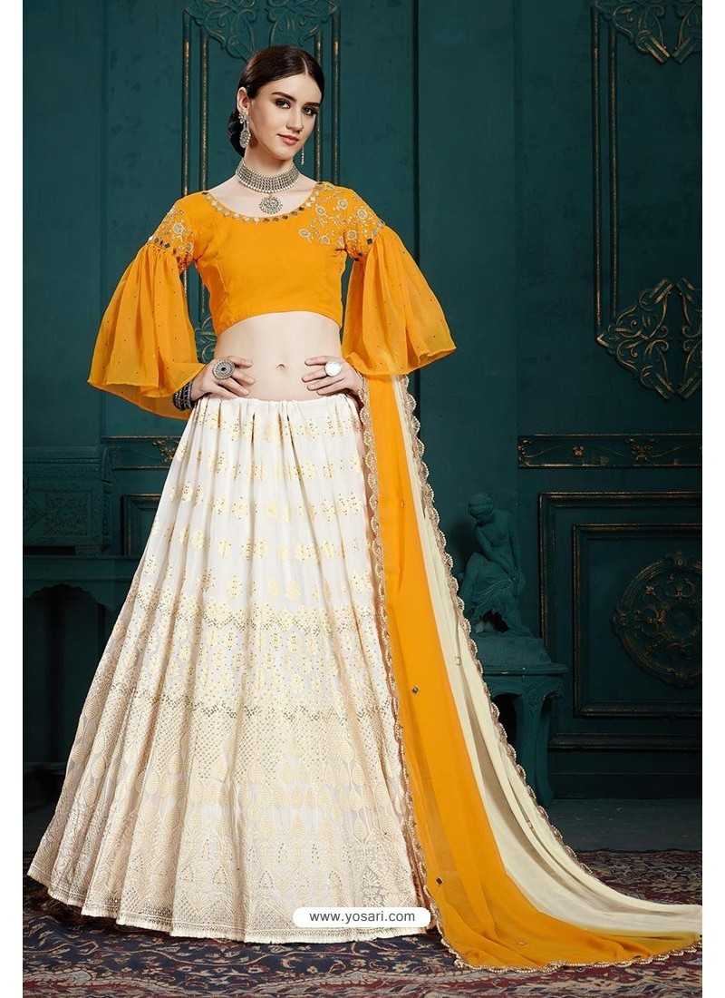 Off White Heavy Multi Embroidered Designer Designer Lehenga Choli